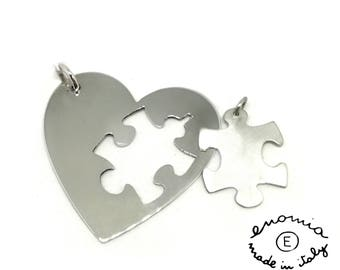 Heart pendant with Puzzle in silver