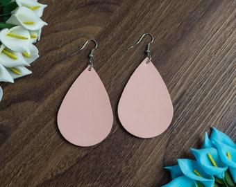 Genuine Leather Earrings Teardrop Pink