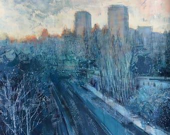 The 7th floor   gouache painting   50x50   Kiev 2017