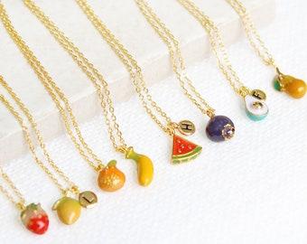 Miniature Fruits Necklace   Initial Necklace, Strawberry, Avocado, Mandarin, Lemon, Blueberry, Watermelon, Banana, Pear