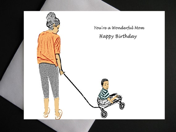 African American Mothers Birthday Card Black