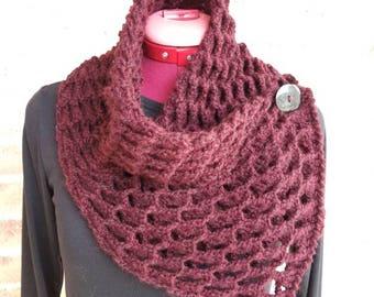 Scarf, Neck warmer, 3D Scarf, Accessories, Crochet Cowl, Handmade Scarf, Perfect Gift ,Cowl, Neckwarmer,  Burgundy,