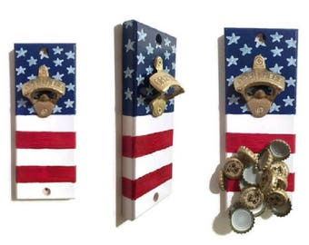 Wall OR Magnetic Mount American Flag Bottle Opener with Magnetic Cap Catcher - FREE SHIPPING