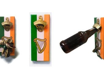 Wall OR Magnetic Mount Irish Flag Bottle Opener with Magnetic Cap Catcher - FREE SHIPPING
