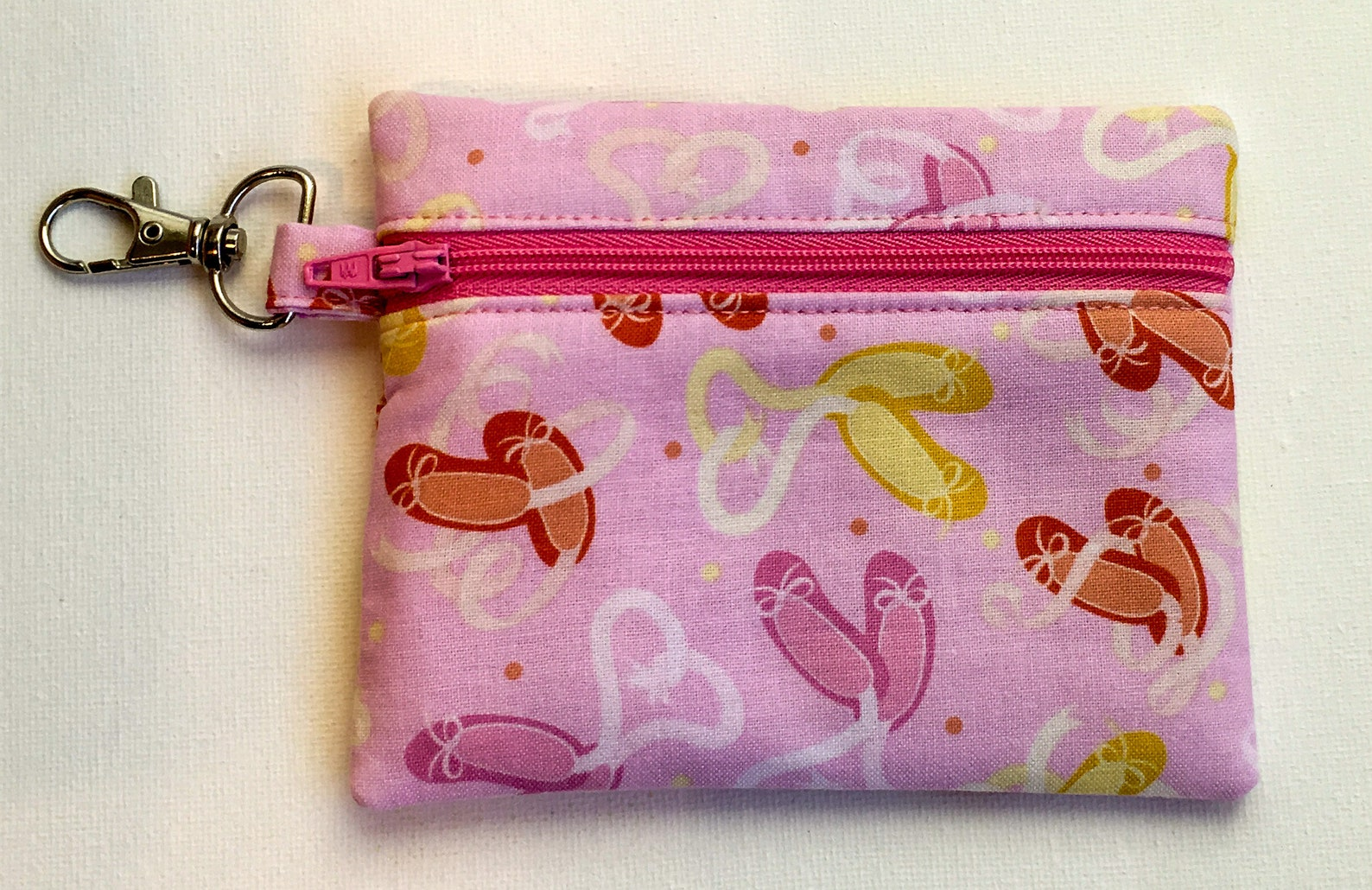 ballet shoes coin purse, card holder, earbud storage, small change purse, lunch money purse, zippered coin purse,