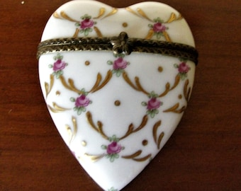 Painted china Vintage Heart Collection box,Father's day,Art and Collections,Présents for Her