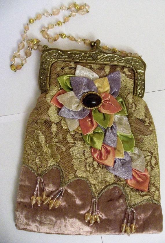 Vintage pearl bag, Vintage velvet bag, Vintage lac