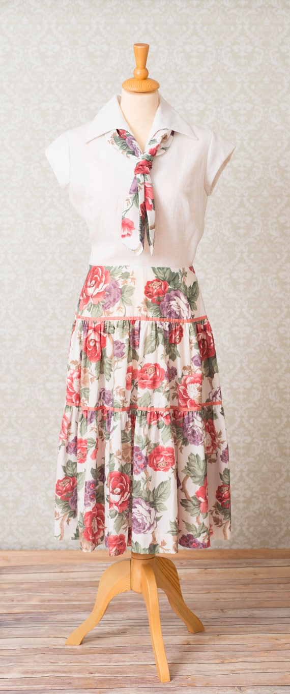 Herman Marcus Floral Tiered Skirt Dress