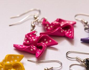 Cute Pink Shrink Plastic Pinwheel Earrings