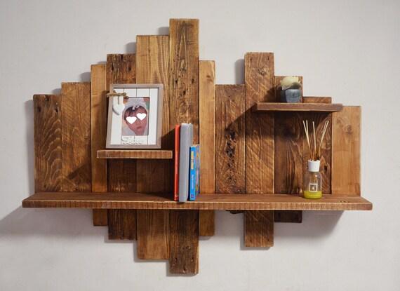 Libreria rustica in legno grezzo di pallet riciclato, portafoto marrone  sospeso a muro di design, portalibri a parete in legno massello