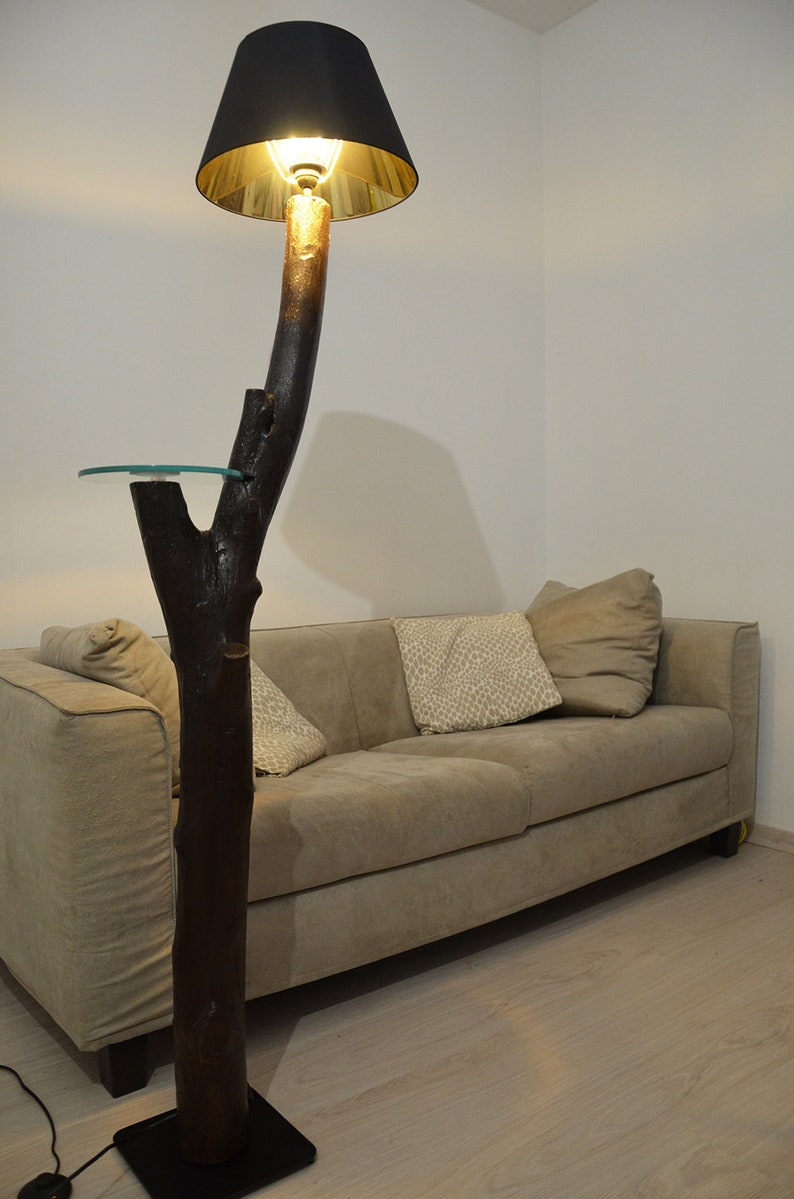 Super Rustieke houten staande lamp met natuurlijke boomstam met | Etsy #PY97