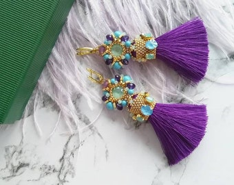 Purple Mini Tassel Earrings