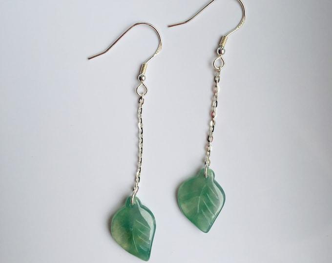 Icy Green Jade Leaf Earrings.Hanging leaves Earrings.Sterling Silver Jade Jewelry.Genuine Jade Jewelry.Nature inspired.Gift for her