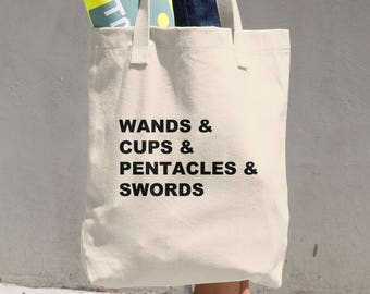 Wands, Cups, Pentacles and Swords - Tarot Cotton Tote Bag - Gift for Her