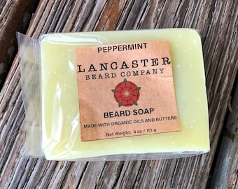Peppermint Beard Soap, Made with Organic Oils and Butters