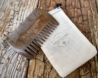 Branded Sandalwood Beard Comb With Muslin Bag