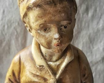 "Antique Vintage Glazed Chalkware Plaster Figure of Young Boy titled ""Whistler"""