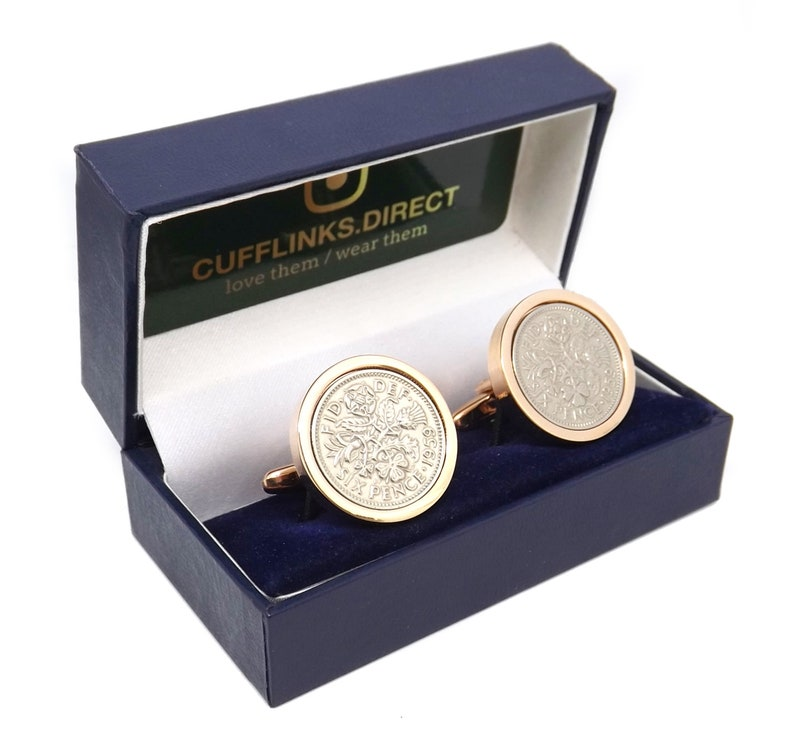 1959 Sixpence Coins Hand Set in a rose gold plate Setting Mens 60 Years 60th Birthday Gift Cuff Links by CUFFLINKS DIRECT