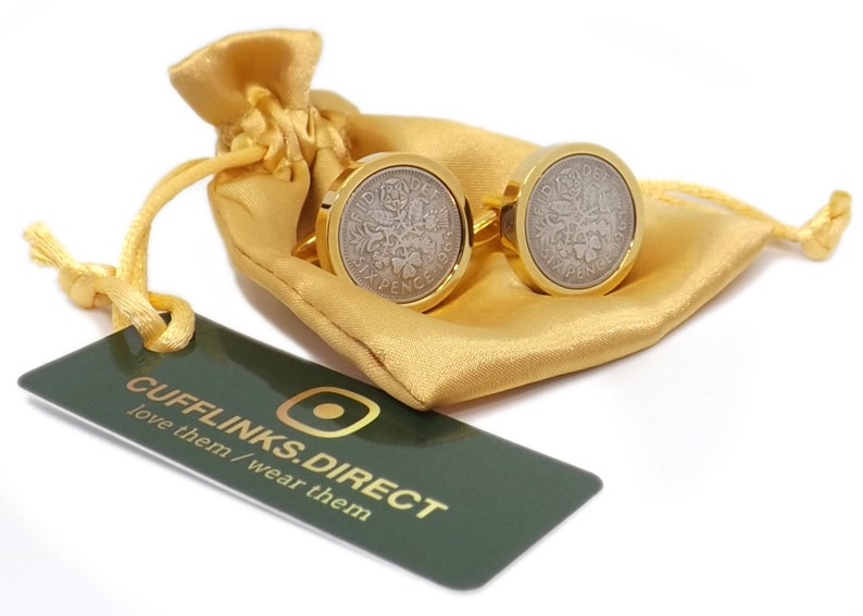 1965 Vintage Sixpence Coins Hand Set in a 9ct Gold plate Setting Mens 54 Years Gift Cuff Links by CUFFLINKS DIRECT