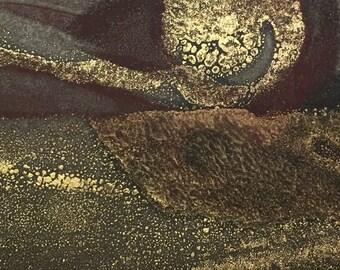 Original Encaustic Abstract Landscape - Monotype on Hemp