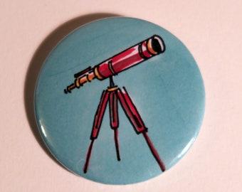 Telescope badge. Old telescope, stargazing, science, astronomy, cosmos, universe, constellations, planets, stars, hand drawn badge
