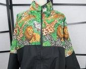 Big Cat Vintage 1980s Oversized Jacket Jungle Safari Print Novelty Print Jacket Street Style Lions Tigers Giraffes Large