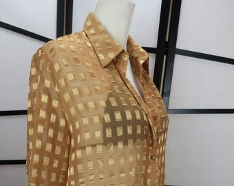 Stay Gold // Vintage 1990s Burnout Blouse // Geometric Print // Semi-Sheer // Extra Long // Coverup // Notations // Large