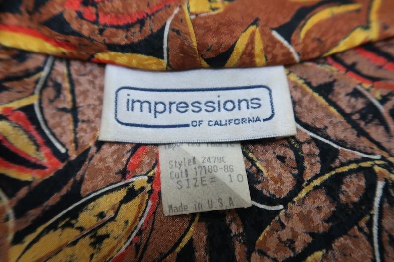 Blaze  Vintage 1980s Deep V Neck Blouse  Oversized Blazer  Gold Orange Red Brown  Fall Blouse  Impressions of California  Size 10