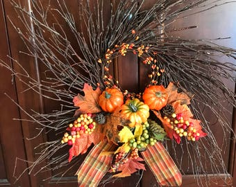 """Fall Thanksgiving 24"""" Birch Twig Wreath"""