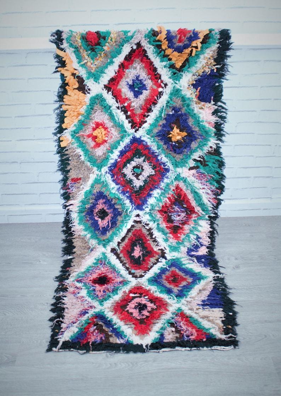 Boucherouite Rug Abstract Runner Rug Bed Foot Decor Moroccan Rug Berber Rug Vintage Rug Boucherouite Carpet Moroccan Carpet