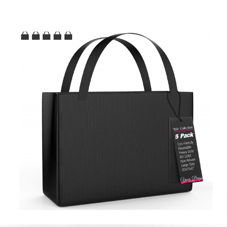 Accessories \u2013 Lightweight for Travel Reusable Stylish Tote Bags 20 x 15 x 5 LARGE Carrying Bag for Shoes Groceries BLACK