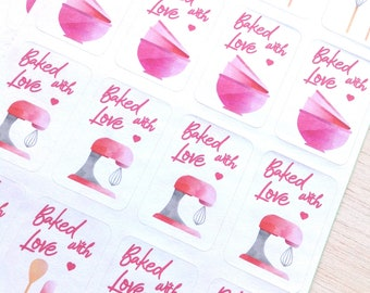 Stickers Baked with love, pink kitchen labels, Baked With Love Labels, Baking Labels, Cookie Bag Labels, Canning Labels, st01