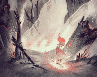 Inktober illustration print: Ash