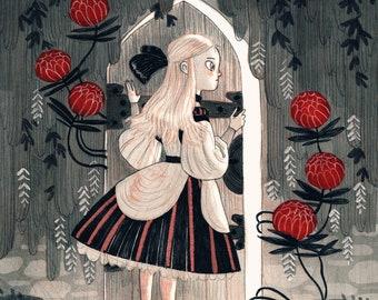 Inktober illustration print: Overgrown