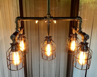 Edison chandelier etsy aloadofball Choice Image