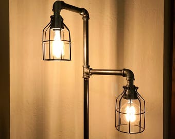 Wire cage lamp shade etsy industrial metal iron pipe floor lamp2 edison bulb2 black wire shades included dimmervoice control metal base options greentooth Images