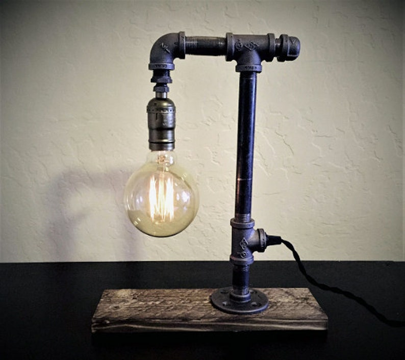 Industrial Iron Metal Gas Pipe Table Lamp Desk Lamp with Reclaimed Rustic Brown Wood BaseSteampunk Style for Office