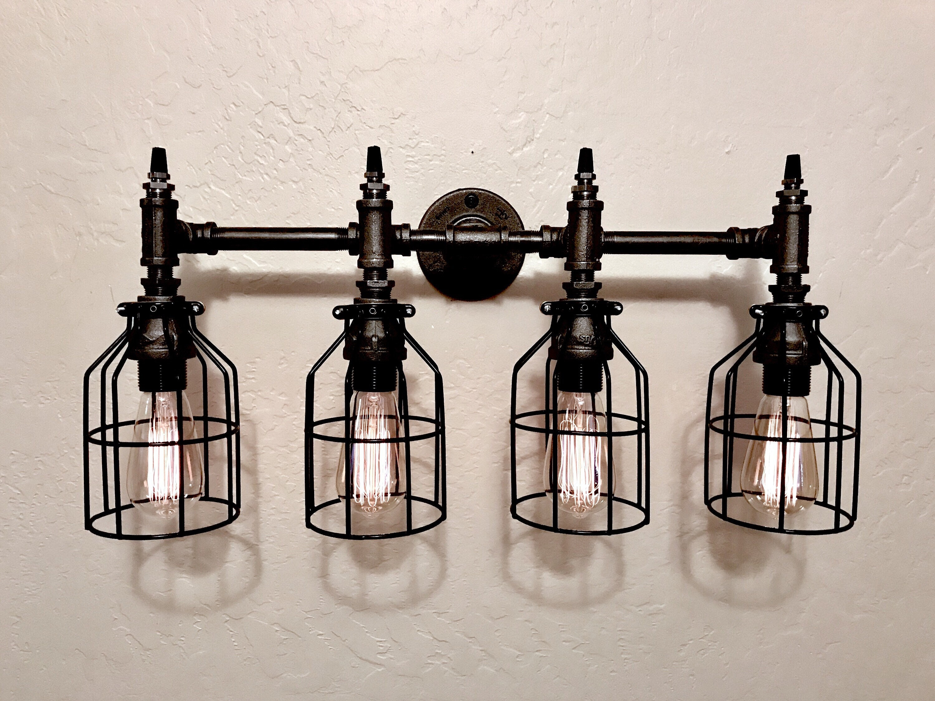 Industrial Metal Iron Pipe 4 Light Wall Vanity Etsy Wire 50