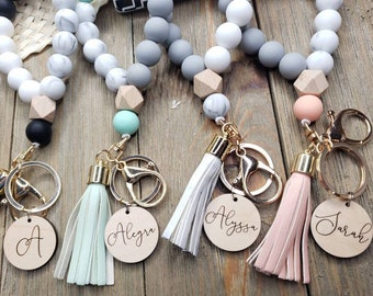 Name Wristlet, Bangle Key Ring, Bracelet Keychain,Custom, Silicone Bangle Keyring, Gift for Her, Girls, Women, with tassel, stretchy, beaded