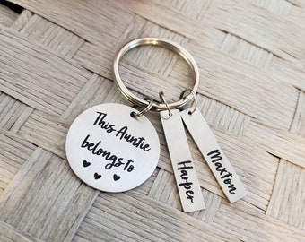 Laser Cut and Engraved Color Tassel and Lobster Clip Customized Aunt Keychain with Children\u2019s Names Clear Acrylic Aunt Gift