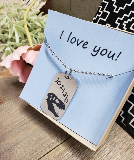 rdyn DINOSAUR T-REX MOTHER AND SON IN BLUE DOG TAG NECKLACE PENDANT FREE CHAIN