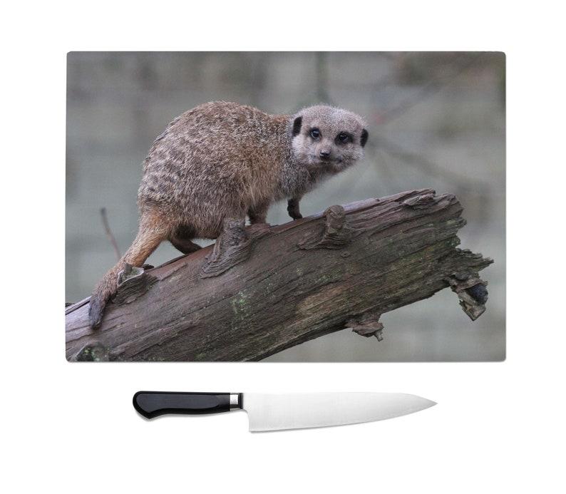 Meerkat chopping board meerkat kitchen accessories meerkat lover gift worktop saver glass chopping board