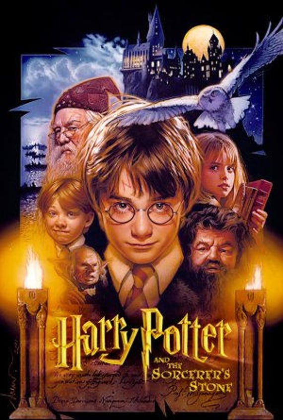 Harry Potter And The Sorcerer S Stone Movie Poster Cross Etsy