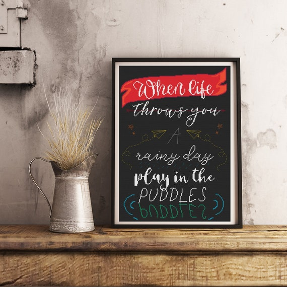 Image of: Happy Image Quote Ideas Cute Cross Stitch Life Quote Pdf Download Etsy
