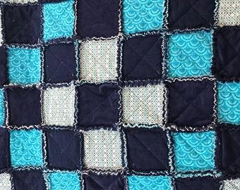 Rag Quilt / Blue Rag Quilt / Blue Blanket / Reversible Quilt / Reversible Blanket