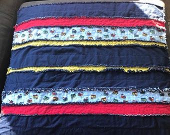 Blue Baby Rag Quilt with Trains / Train Blanket / Toddler Blanket / Nap Time Blanket / Daycare Blanket