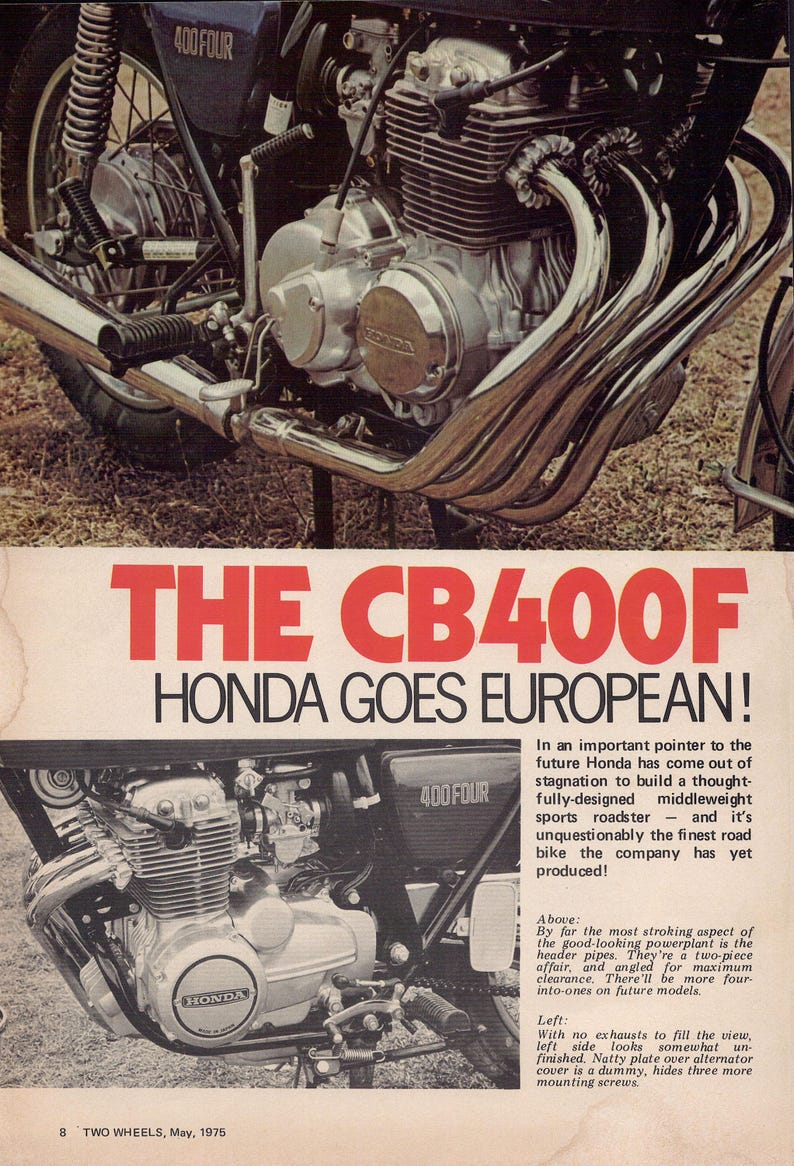 Honda CB400F 1975 Road test  Australia  7 page road test removed from 1975  Australian motorcycle magazine