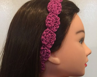 Pink Rose Mercerized Cotton Crocheted Headband
