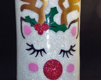 Glitter Tumbler*rambler*cup ***RUDOLPH*** Stainless Steel Insulated 10 20 30 36 40 ounces HOLIDAY Ready to Personalize***MONOGRAM