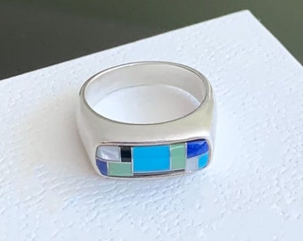 Carolyn Pollack Plain Charoite Turquoise /& Coral Mosaic Sterling Silver Stack Rings SZ 6
